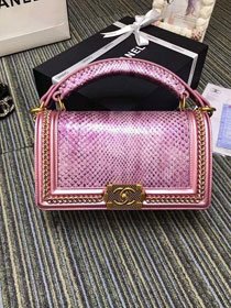 CC original python leather medium boy handbag A94804 pink