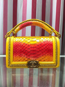 CC original python leather medium boy handbag A94804 yellow&red