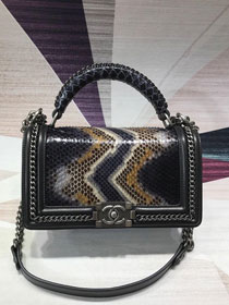 CC original python leather medium le boy handbag A94804 black&beige