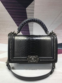 CC original python leather medium le boy handbag A94804 black&grey