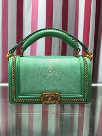 CC original stingray skin boy handbag A94804 light green