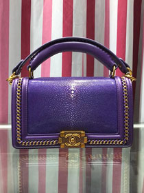 CC original stingray skin boy handbag A94804 purple