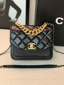 2019 CC original calfskin small flap bag AS0784 black