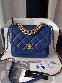 2019 CC original calfskin small flap bag AS0784 blue