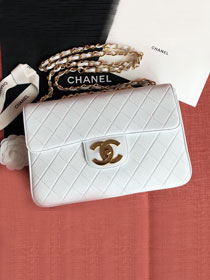 2019 CC original lambskin jumbo flap bag  A01325 white
