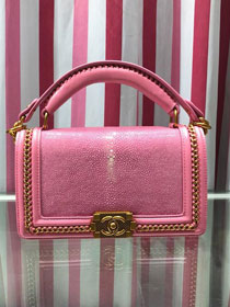 CC original stingray skin boy handbag A94804 pink