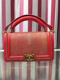 CC original stingray skin boy handbag A94804 red