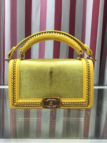 CC original stingray skin boy handbag A94804 yellow