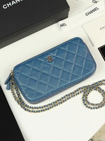 2019 CC original iridescent grained calfskin classic clutch with chain A82527 blue