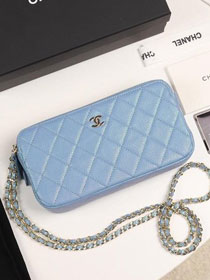 2019 CC original iridescent grained calfskin classic clutch with chain A82527 light blue