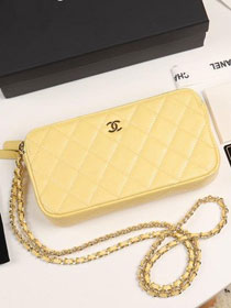 2019 CC original iridescent grained calfskin classic clutch with chain A82527 yellow