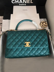 2019 CC original grained calfskin large coco handle bag A92991 turquoise