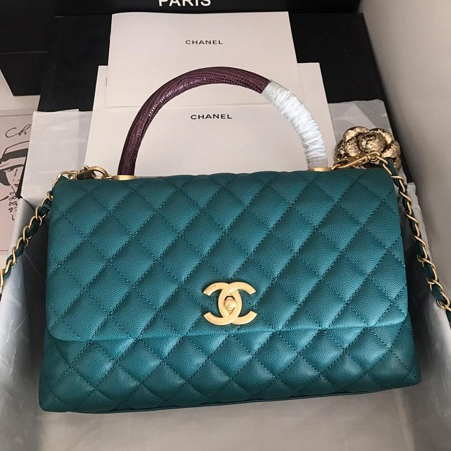 2019 CC original grained calfskin large coco handle bag A92991 turquoise&bordeaux