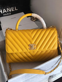 2019 CC original grained calfskin large coco handle bag A92991 yellow