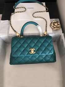 2019 CC original grained calfskin small coco handle bag A92990 turquoise