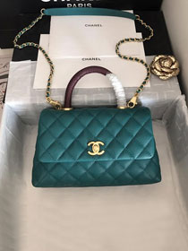 2019 CC original grained calfskin small coco handle bag A92990 turquoise&bordeaux