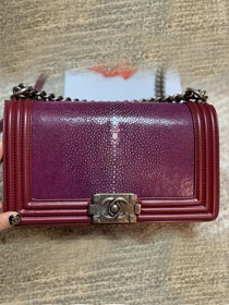 CC original genuine stingray skin boy bag A67086 bordeaux