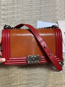 CC original genuine stingray skin boy bag A67086 bordeaux&orange