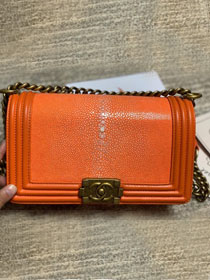 CC original genuine stingray skin boy bag A67086 orange