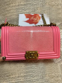 CC original genuine stingray skin boy bag A67086 pink