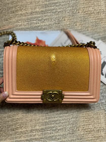 CC original genuine stingray skin boy bag A67086 pink&gold