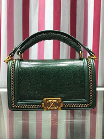 CC original lizard leather boy handbag A94804 blackish green
