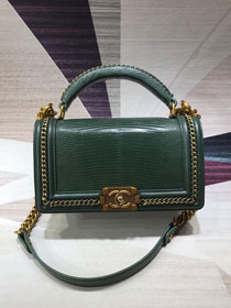 CC original lizard leather boy handbag A94804 green