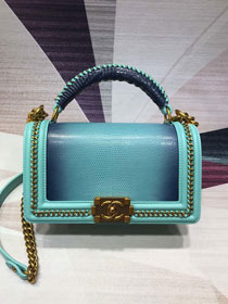 CC original lizard leather boy handbag A94804 lake blue