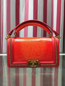 CC original lizard leather boy handbag A94804 red&orange