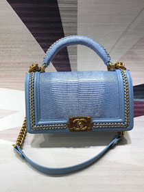 CC original lizard leather boy handbag A94804 sky blue