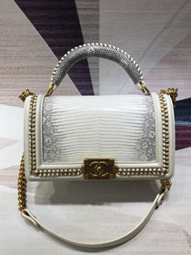 CC original lizard leather boy handbag A94804 white