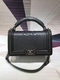 CC original python leather medium boy handbag A94804 black