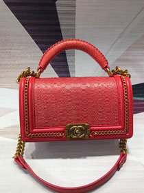 CC original python leather medium le boy handbag A94804 red