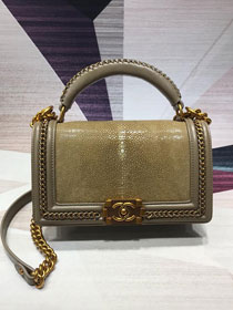 CC original stingray skin boy handbag A94804 gold