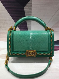 CC original stingray skin boy handbag A94804 green