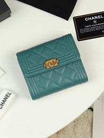 CC grained calfskin boy small flap wallet A81996 turquoise