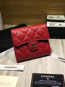 CC grained calfskin classic flap wallet AP0231 red