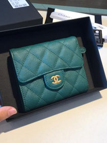 CC grained calfskin classic flap wallet AP0231 turquoise