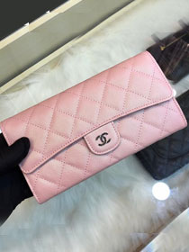 CC grained classic long flap wallet A80758 pink