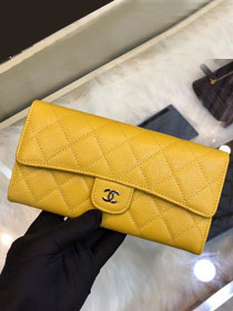 CC grained classic long flap wallet A80758 yellow