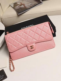 CC original grained calfskin pouch with handle AP0364 pink
