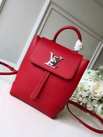 2019 louis vuitton original calfskin mini lockme backpack M54573 red