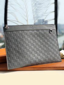 Louis vuitton damier Infini leather discovery clutch N60112 grey