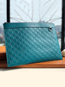 Louis vuitton damier Infini leather discovery clutch N60112 turquoise
