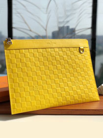 Louis vuitton damier Infini leather discovery clutch N60112 yellow