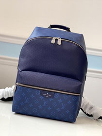Louis vuitton original taiga leather discovery backpack M30229 blue