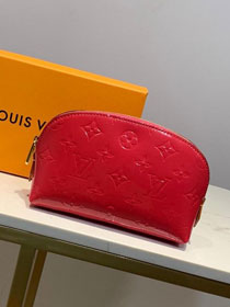 Louis vuitton original vernis leather cosmetic pouch m90172 rose red