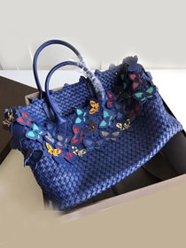 BV original intrecciato lambskin cabat bag with butterfly 115664 royal blue
