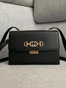 2019 GG original grainy calfskin zumi small shoulder bag 576388 black