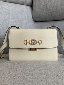 2019 GG original grainy calfskin zumi small shoulder bag 576388 white